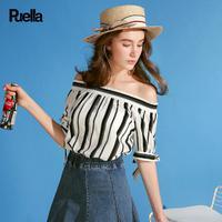 puella2017夏新款甜美一字领露肩竖条纹衬衫女20010260