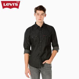 Levi's李维斯秋冬季男修身黑色水洗翻领长袖牛仔衬衫65819-0071