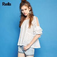 puella普埃拉2017夏新款宽松镂空露肩套头圆领纯色衬衫女20010074
