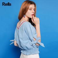 puella普埃拉2017夏新款甜美撞色领口蝴蝶袖口牛仔衬衫女20010149