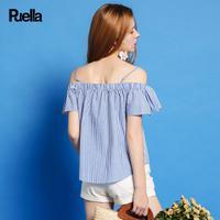 puella普埃拉2017夏新款甜美荷叶袖吊带一字肩条纹衬衫女20010185