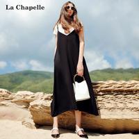 拉夏贝尔2017夏季短袖内搭配吊带长款连衣裙两件套套装10012553