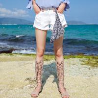 拉夏贝尔2017夏季新款韩版百搭破洞显瘦超短裤子牛仔裤女10012621