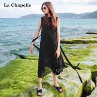 拉夏贝尔2017夏季新款纯色无袖雪纺长裙收腰黑色连衣裙女10012666