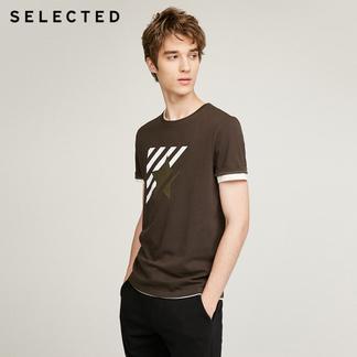 SELECTED思莱德纯棉条纹男短袖T恤417301501