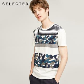 SELECTED思莱德纯棉条纹男短袖T恤417301518