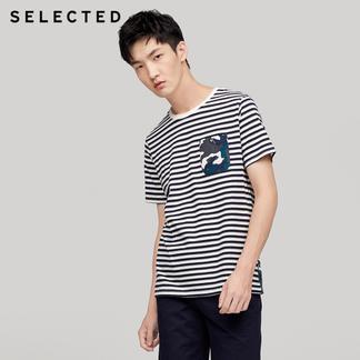 SELECTED思莱德纯棉条纹迷彩男士圆领短袖T恤417301504