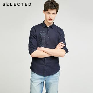 SELECTED思莱德夏季新款男棉麻七分袖衬衫417331501