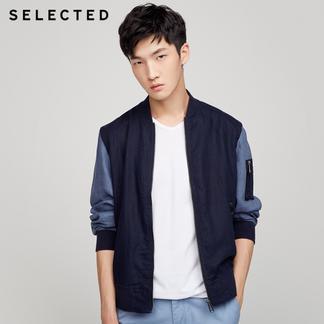 SELECTED思莱德新款纯亚麻拼色男士休闲轻薄夹克外套417321502