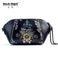 名梦(minmen)单肩包女式包包2017新款潮韩版真皮包包百搭手绘花复古休闲斜挎女包