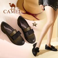 camel 骆驼女鞋 2017秋季新款 简约英伦风单鞋女 低跟套脚女皮鞋