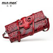 名梦(minmen)手拿包中国风牛皮压花女士单肩包斜挎包