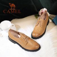 camel 骆驼女鞋 2017秋季新款 英伦风简约百搭单鞋女 舒适皮鞋
