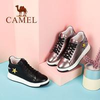 camel 骆驼女鞋 2017秋季新品时尚拼接平跟女鞋 个性舒适厚底系带高帮鞋