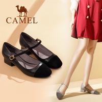 camel 骆驼女鞋 2017秋季新款 优雅简约单鞋女 羊反绒通勤粗跟中跟单鞋