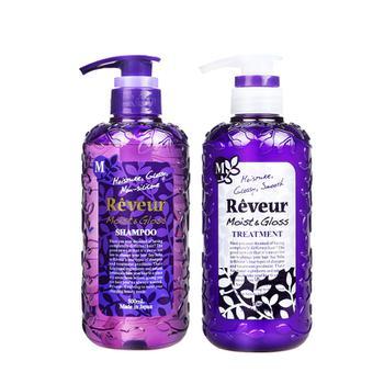 日本 Reveur 无硅洗发水+护发素组合 500ml/瓶 紫色养润保湿型