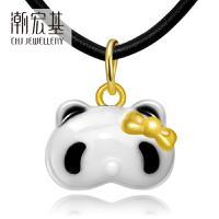 潮宏基珠宝 萌宠陶瓷熊猫 闺蜜款 黄金项链吊坠女足金挂坠