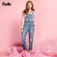 puella2017秋装新款休闲韩版直筒破洞做旧bf百搭九分牛仔背带裤长裤女20010355