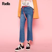 puella2017秋装新款休闲不规则脚口九分牛仔裤子女潮【内含腰带】20010356