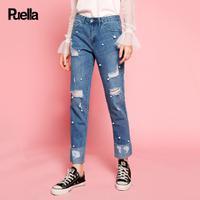 puella2017秋装新款韩版中腰休闲破洞钉珠裤口翻边直筒九分牛仔裤子女20010358