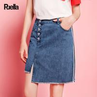 puella2017秋装新款休闲高腰开叉不对称单排扣chic牛仔a字半身裙短裙女20010368