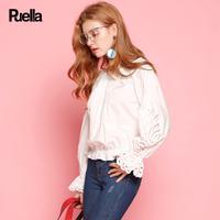 puella2017秋新款甜美荷叶边镂空花边纯色长袖衬衫女短款20010376