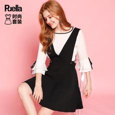 puella2017秋装新款时尚一字领雪纺衬衫短款半身裙连衣裙套装女休闲收腰20010407