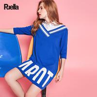 puella2017秋新款休闲运动韩版显瘦七分袖假两件衬衫字母T恤连衣裙短裙20010410