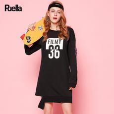 puella2017秋装新款休闲宽松灯笼袖撞色字母印花织带长袖套头连衣裙女20010426