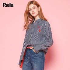 puella2017秋装新款韩版休闲宽松长袖百搭竖条纹chic流苏字母绣花衬衫女20010443