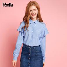puella2017秋装新款宽松中长款荷叶袖竖条纹衬衣休闲韩版学生长袖衬衫女20010497