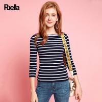 puella2017秋装新款韩版休闲百搭七分袖修身显瘦短款条纹打底t恤上衣女20010517