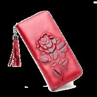 名梦(minmen)真皮女士长款钱包女玫瑰花纹复古手包