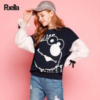 puella2017秋装新款韩版百搭宽松芝麻街印花荷叶九分袖拼接t恤上衣女潮20010533