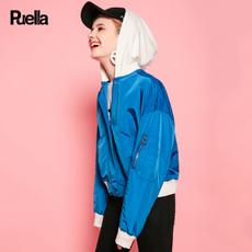 puella2017秋装新款休闲宽松百搭运动风短款撞色拼接连帽外套女潮20010575