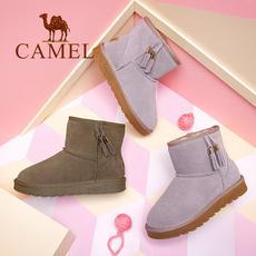 camel 骆驼女鞋 2017冬季新品 时尚舒适保暖防滑短靴休闲平跟流苏雪地靴