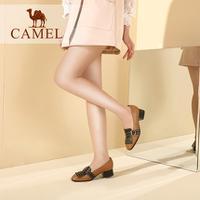 camel 骆驼女鞋 2017秋季新款 时尚街拍铆钉方跟单鞋方头浅口粗跟时装鞋