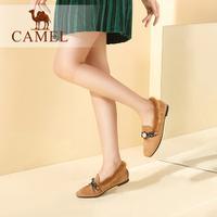 camel  骆驼女鞋 2017冬季新款 简约保暖单鞋时尚金属装饰百搭舒适毛毛鞋