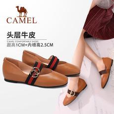 camel 骆驼女鞋 2017秋季新款 百搭浅口单鞋女 复古内增高方头玛丽珍鞋