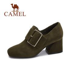camel 骆驼女鞋 2017秋季新款优雅高跟单鞋女 金属扣方头方扣绒面粗跟鞋
