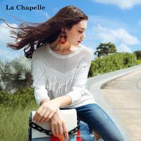 拉夏贝尔2017秋装新款宽松套头镂空流苏七分袖针织衫女士10013012