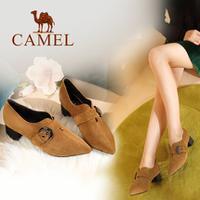 camel 骆驼女鞋 2017秋季新款时尚优雅方跟鞋 百搭皮带扣带尖头套脚单鞋