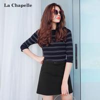 拉夏贝尔2017秋装新款韩版条纹修身七分袖圆领针织衫女士10013014