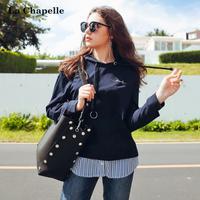 拉夏贝尔2017秋装新款韩版假两件长袖套头连帽卫衣女士10013817