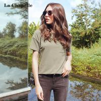 拉夏贝尔2017秋季新款时尚宽松显瘦上衣服短袖T恤女士10013845