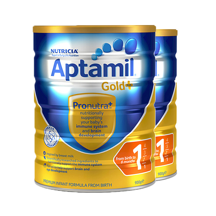 2罐装 澳洲爱他美Aptamil奶粉金装1段900g(0-6个月)新老包装随机发货