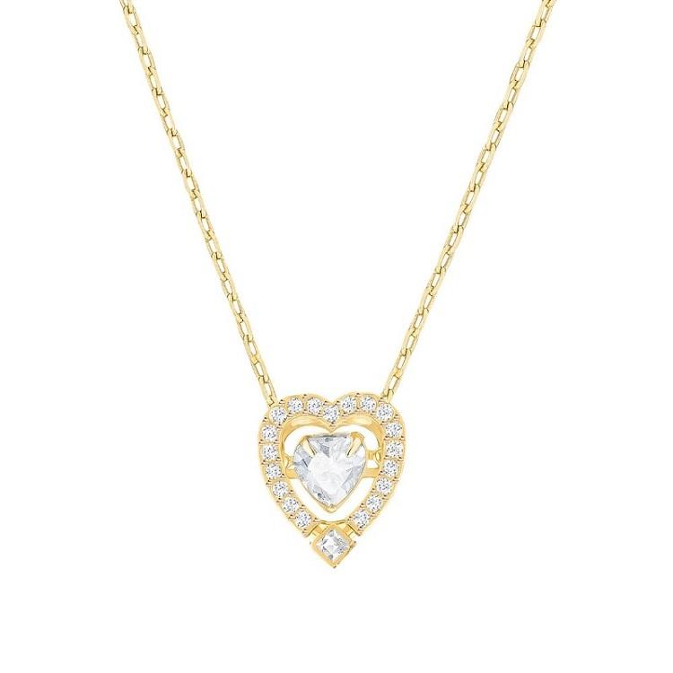 【海外直邮】Swarovski施华洛世奇 跳动的心 心型金色 5284190 水晶女士项链