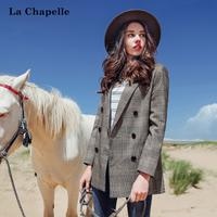 拉夏贝尔原宿短外套女士拉夏贝尔2017秋装新款韩版宽松bf长袖格子西装上衣10013430