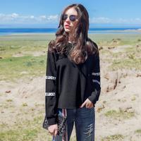 拉夏贝尔拉夏贝尔卫衣女秋装2017新款韩版bf宽松显瘦套头港风长袖chic上衣10013558