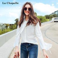 拉夏贝尔2017秋装新款职业气质淑女长袖复古雪纺衫白色衬衫女韩范10013686